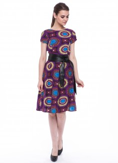 Women dress Sunflower with sleeves-3
