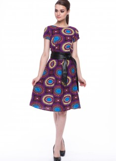 Women dress Sunflower with sleeves-4