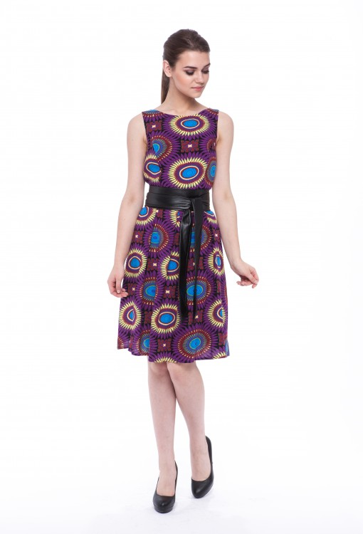 Women dress Sunflower without sleeves-4