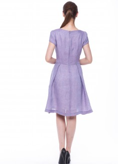 Women dress Violet with sleeves-2